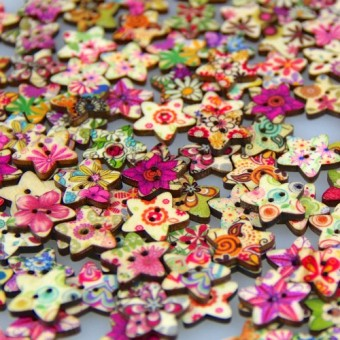 50 pcs Wooden Star Buttons