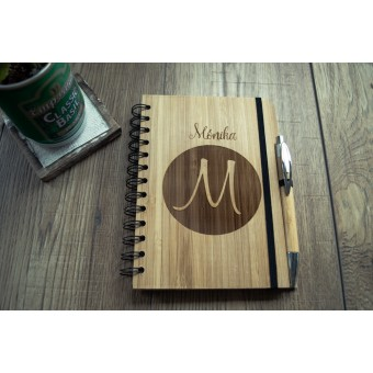 Personalised Bamboo Cover Notebook with Pen #2