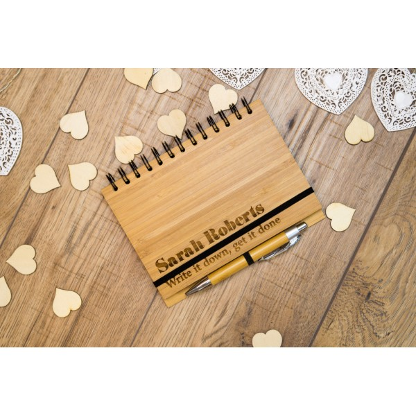 Personalised Bamboo Cover Notebook with Pen - Name and message