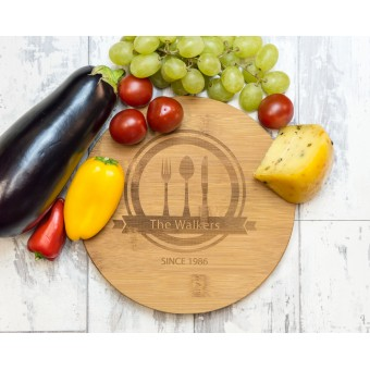Personalized Bamboo Serving or Cutting Board - Round
