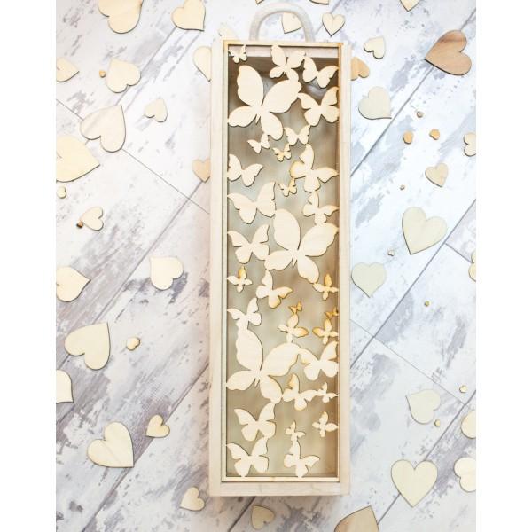 Wooden Wine Box - Butterfly