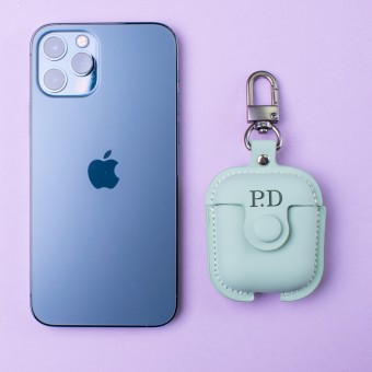 Personalised PU Leather Apple Airpod Soft Case - Green (Initials Only)