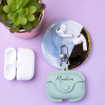 Personalised PU Leather Apple Airpod Pro Soft Case - Green