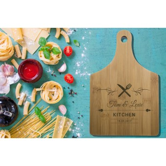 Personalised Bamboo Serving or Cutting Board with handle