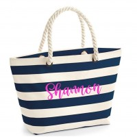Personalised Striped Beach Tote Bag
