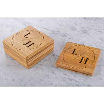 Personalised Engraved Wooden Bamboo Coaster Rectangle