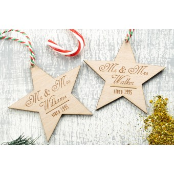 Personalised Christmas Ornaments Stars - Pack of Two #4
