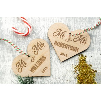 Personalised Christmas Ornaments Hearts - Pack of Two #2
