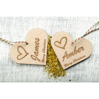 Personalised Christmas Ornaments Hearts - Pack of Two #3