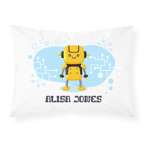 Personalised Childrens Robot Pillowcase