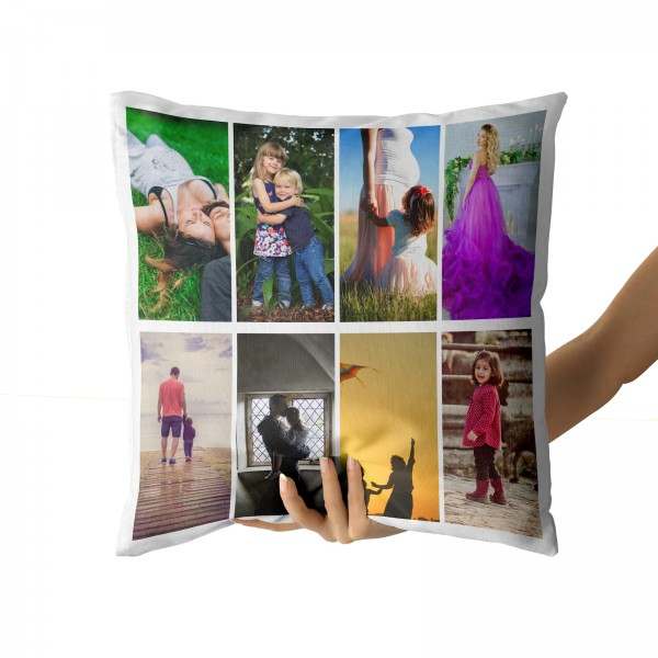 Personalised Photo Collage and Message Cushion Up to 8 Photo