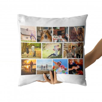Personalised Photo Collage and Message Cushion Up to 12 Photo