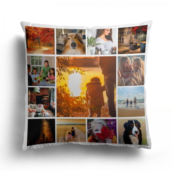 Personalised Photo Cushion Cover with Up to 13 Photos