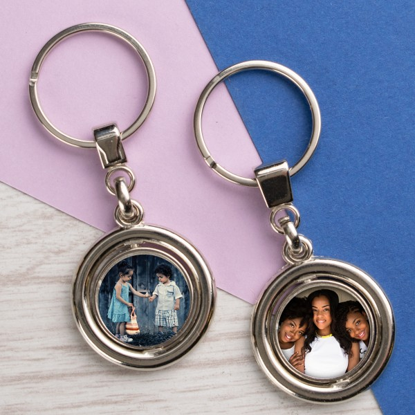Personalised Photo Metal Keyring - Round Double Sided