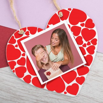 Personalised Photo Wooden Heart with Hearts  PPL-222
