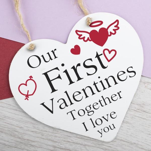 Wooden Heart Plaque First Valentines PPL-111