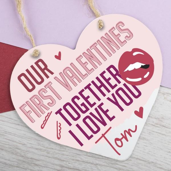 Wooden Heart Plaque First Valentines PPL-115