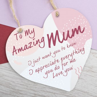 Metal Heart Plaque Amazing Mum PPL-136