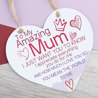 Metal Heart Plaque Amazing Mum PPL-137