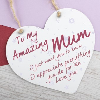 Metal Heart Plaque Amazing Mum PPL-139
