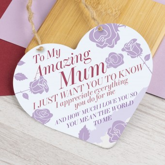 Metal Heart Plaque Amazing Mum PPL-140