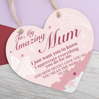Metal Heart Plaque Amazing Mum PPL-141