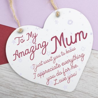 Metal Heart Plaque Amazing Mum PPL-142