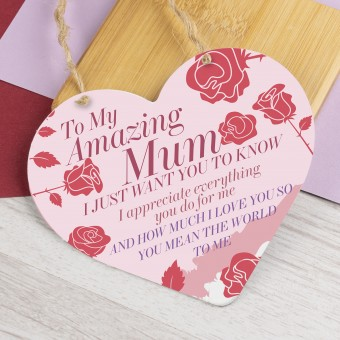 Metal Heart Plaque Amazing Mum PPL-143