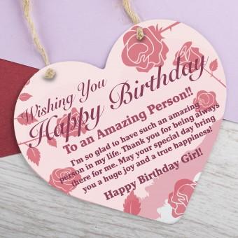 Wooden Heart Plaque Happy Birthday PPL-160