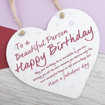 Wooden Heart Plaque Happy Birthday PPL-163