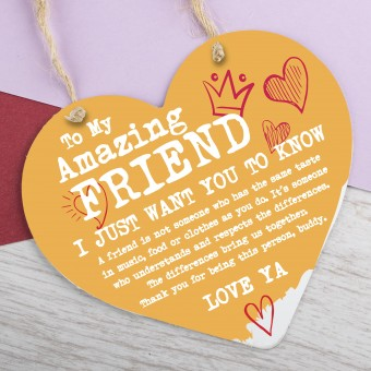 Metal Heart Plaque Amazing Friend PPL-169
