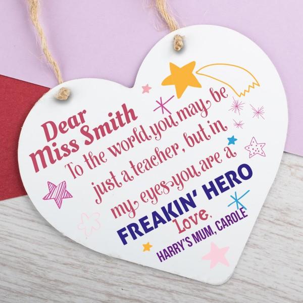 Personalised Metal Heart Plaque Teacher Freakin Hero PPL-196