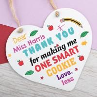 Personalised Metal Heart Plaque Teacher One Smart Cookie PPL-197