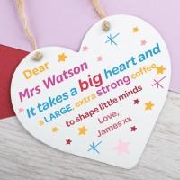 Personalised Metal Heart Plaque Teacher Shape Little Minds PPL-198