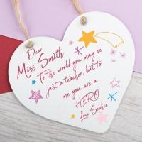 Personalised Metal Heart Plaque Teacher Freakin Hero PPL-199