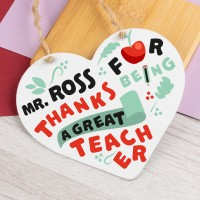 Personalised Metal Heart Plaque Great Teacher PPL-203