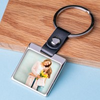 Personalised Photo Metal Keyring-Leather Square