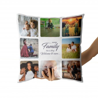 Personalised Photo Collage and Message Cushion COVER