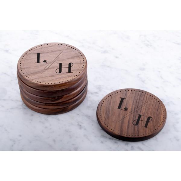 Personalised Engraved Wooden Walnut Coaster Round