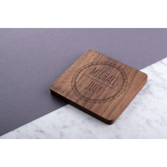 Personalised Engraved Wooden Cherry Wood Coaster Rectangle