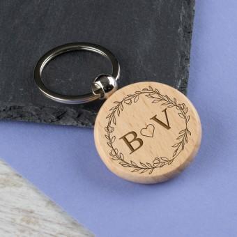 Personalised Wooden Round Keyring