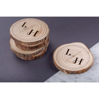 Personalised Engraved Wooden Coaster Wood Log