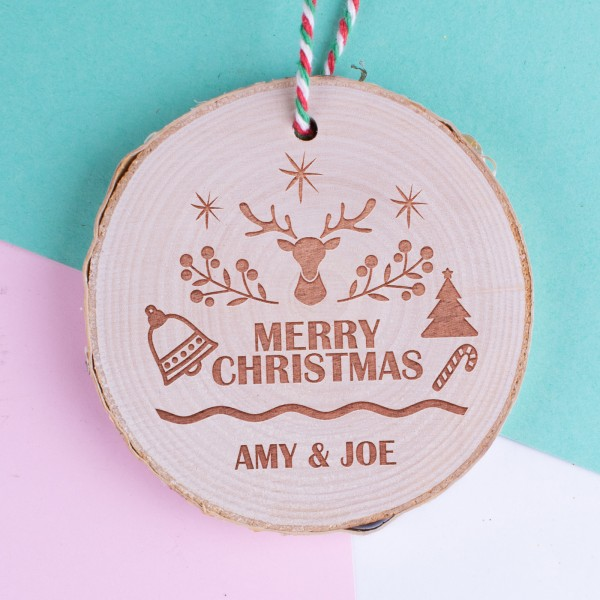Personalised Christmas Wood Log Ornament #101