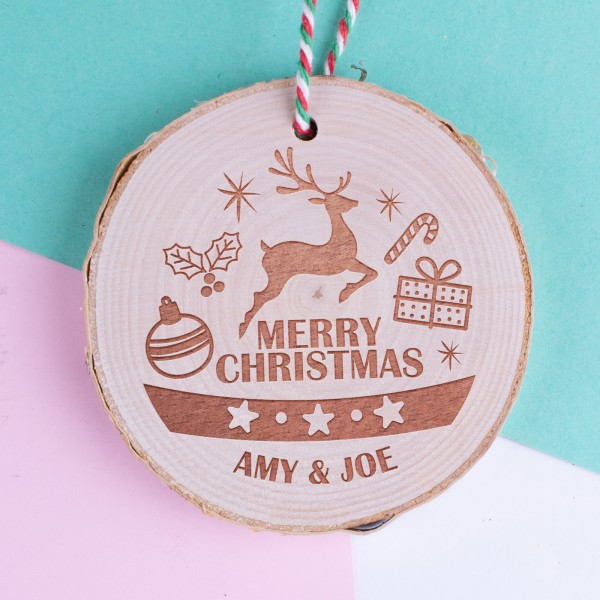 Personalised Christmas Wood Log Ornament #103