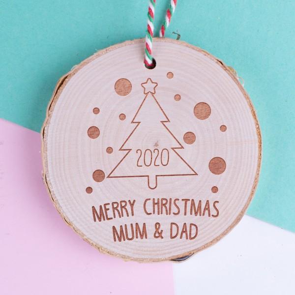 Personalised Christmas Wood Log Ornament #104