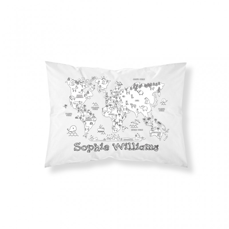 Personalised Doodle World Map Pillowcase