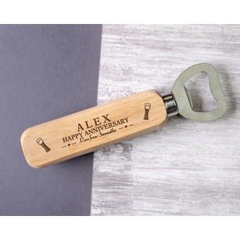 Personalised Engraved Wooden Bottle Opener - WBON-102