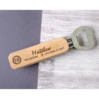 Personalised Engraved Wooden Bottle Opener - WBON-106