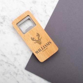 Personalised Engraved Wooden Bottle Opener Rectangle