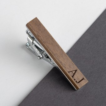 Personalised Wooden Tie Clip-Mahogany
